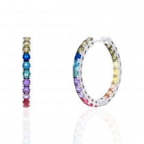 925 Sterling Silver Round Cut Rainbow Multi Color Cubic Zirconia Hoop Earrings