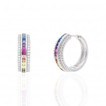 925 Sterling Silver  Rainbow Multi Color Cubic Zirconia Hoop Earrings