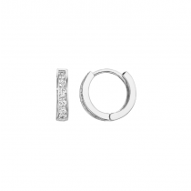 925 Sterling Silver CZ Huggies Earrings