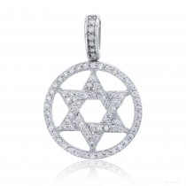 Sterling Silver Round Star of David Pendant