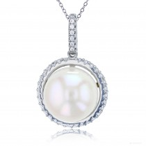 """Sterling Silver Rhodium Plated 13mm Freshwater Pearl & Micropave Circle Frame 18"""" Necklace With CZ"""