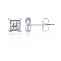 Sterling Silver 3x3 Pave Square Stud