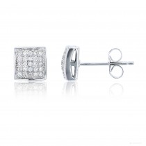Sterling Silver 5x5 Micropave Domed Square Stud
