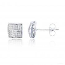Sterling Silver 6x6 Micropave Domed Square Stud