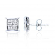 Sterling Silver 4x4 Curved Square Stud