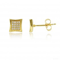 Sterling Silver Yellow 4x4 Curved Square Stud