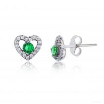 Sterling Silver Rhodium 3.50mm Emerald Rd Cut Center Heart Stud Earring