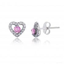 Sterling Silver Rhodium 3.50mm Pink Rd Cut Center Heart Stud Earring