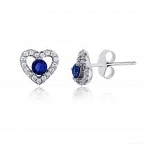 Sterling Silver Rhodium 3.50mm Sapphire Rd Cut Center Heart Stud Earring