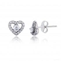 Sterling Silver Rhodium 3.50mm White Rd Cut Center Heart Stud Earring