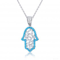 """Sterling Silver Rhodium Plated Sky Blue & White CZ Hamsa 18"""" Necklace"""