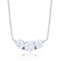 """Sterling Silver Rhodium Plated Triple Round CZ 18""""+2"""" Necklace"""
