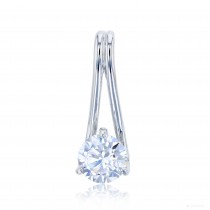Sterling Silver Rhodium 8.00mm Round Solitaire Pendant