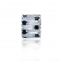 Sterling Silver Rhodium White Baguette & Black Round CZ Ring Pendant