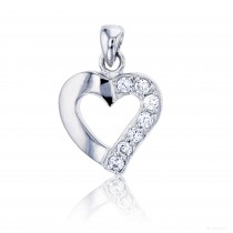 Sterling Silver Rhodium 22x15mm Half Polished and Half Pave Heart Pendant