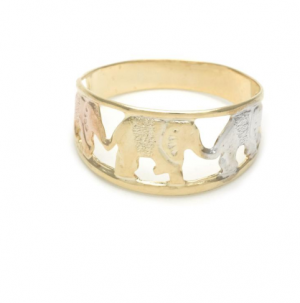 Gold Filled Tri Color Elephant Design Ladies Ring