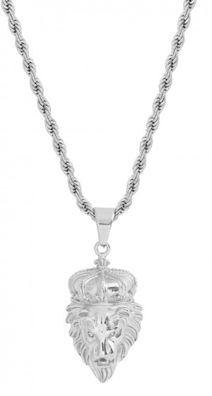 Stainless Steel Silver Tone Lion Head 24 Inches Mens Necklace