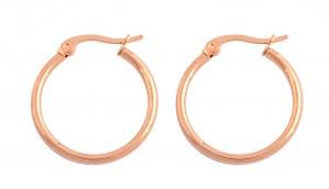 Stainless Steel Rose Gold Tone Ladies Hoops Earrings (2mm x 20mm)